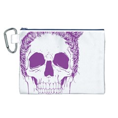 Purple Skull Bun Up Canvas Cosmetic Bag (Large)