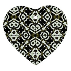 Abstract Geometric Modern Pattern  Heart Ornament