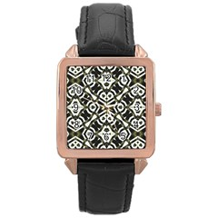 Abstract Geometric Modern Pattern  Rose Gold Leather Watch