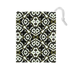 Abstract Geometric Modern Pattern  Drawstring Pouch (Large)