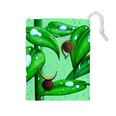 Playing In The Rain Drawstring Pouch (Large)