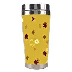 Abstract Geometric Shapes Design in Warm Tones Stainless Steel Travel Tumbler