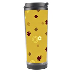 Abstract Geometric Shapes Design in Warm Tones Travel Tumbler