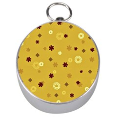Abstract Geometric Shapes Design In Warm Tones Silver Compass