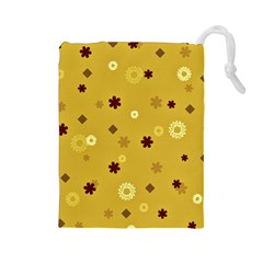 Abstract Geometric Shapes Design in Warm Tones Drawstring Pouch (Large)