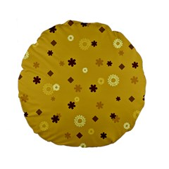 Abstract Geometric Shapes Design In Warm Tones 15  Premium Flano Round Cushion