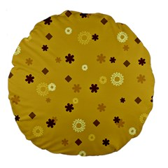 Abstract Geometric Shapes Design in Warm Tones 18  Premium Flano Round Cushion