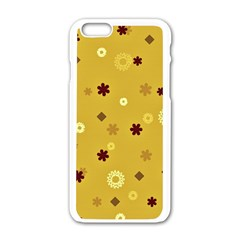 Abstract Geometric Shapes Design in Warm Tones Apple iPhone 6 White Enamel Case