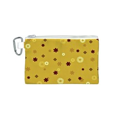 Abstract Geometric Shapes Design In Warm Tones Canvas Cosmetic Bag (small)