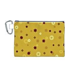 Abstract Geometric Shapes Design in Warm Tones Canvas Cosmetic Bag (Medium)