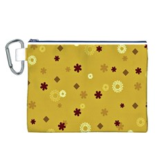 Abstract Geometric Shapes Design in Warm Tones Canvas Cosmetic Bag (Large)