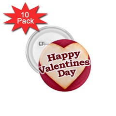 Heart Shaped Happy Valentine Day Text Design 1 75  Button (10 Pack)