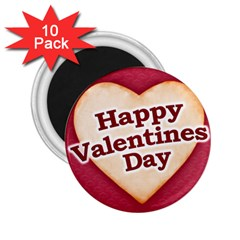Heart Shaped Happy Valentine Day Text Design 2 25  Button Magnet (10 Pack)