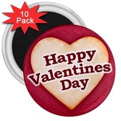 Heart Shaped Happy Valentine Day Text Design 3  Button Magnet (10 Pack)