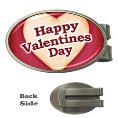 Heart Shaped Happy Valentine Day Text Design Money Clip (oval)