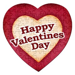 Heart Shaped Happy Valentine Day Text Design Jigsaw Puzzle (heart)