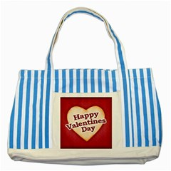 Heart Shaped Happy Valentine Day Text Design Blue Striped Tote Bag