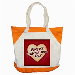 Heart Shaped Happy Valentine Day Text Design Accent Tote Bag