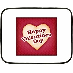 Heart Shaped Happy Valentine Day Text Design Mini Fleece Blanket (Two Sided)