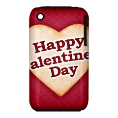 Heart Shaped Happy Valentine Day Text Design Apple iPhone 3G/3GS Hardshell Case (PC+Silicone)