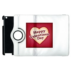 Heart Shaped Happy Valentine Day Text Design Apple iPad 2 Flip 360 Case