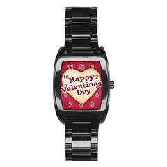 Heart Shaped Happy Valentine Day Text Design Stainless Steel Barrel Watch