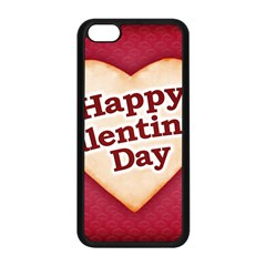 Heart Shaped Happy Valentine Day Text Design Apple iPhone 5C Seamless Case (Black)