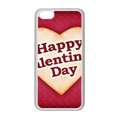 Heart Shaped Happy Valentine Day Text Design Apple iPhone 5C Seamless Case (White)