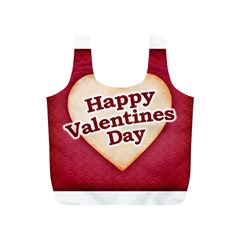 Heart Shaped Happy Valentine Day Text Design Reusable Bag (s)