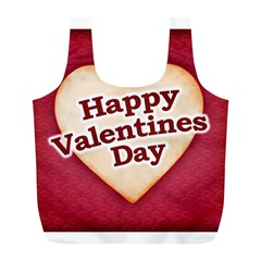 Heart Shaped Happy Valentine Day Text Design Reusable Bag (L)