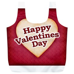 Heart Shaped Happy Valentine Day Text Design Reusable Bag (xl)