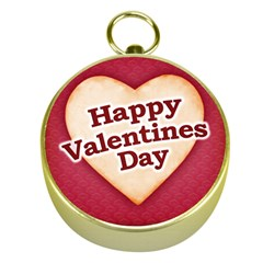 Heart Shaped Happy Valentine Day Text Design Gold Compass