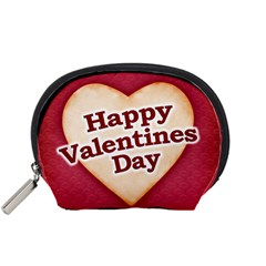Heart Shaped Happy Valentine Day Text Design Accessory Pouch (Small)