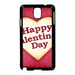 Heart Shaped Happy Valentine Day Text Design Samsung Galaxy Note 3 Neo Hardshell Case (black)