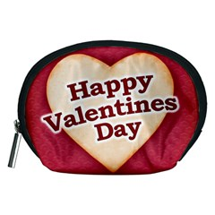 Heart Shaped Happy Valentine Day Text Design Accessory Pouch (Medium)