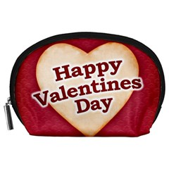Heart Shaped Happy Valentine Day Text Design Accessory Pouch (large)