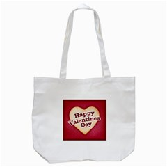 Heart Shaped Happy Valentine Day Text Design Tote Bag (White)
