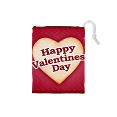 Heart Shaped Happy Valentine Day Text Design Drawstring Pouch (small)