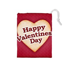 Heart Shaped Happy Valentine Day Text Design Drawstring Pouch (Medium)