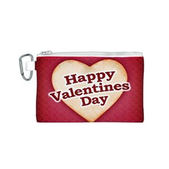 Heart Shaped Happy Valentine Day Text Design Canvas Cosmetic Bag (Small)