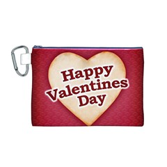 Heart Shaped Happy Valentine Day Text Design Canvas Cosmetic Bag (medium)