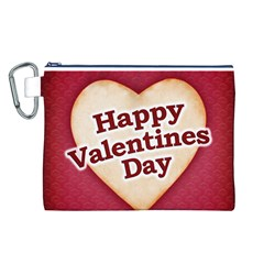 Heart Shaped Happy Valentine Day Text Design Canvas Cosmetic Bag (Large)