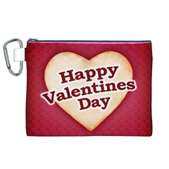 Heart Shaped Happy Valentine Day Text Design Canvas Cosmetic Bag (XL)
