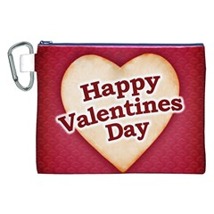 Heart Shaped Happy Valentine Day Text Design Canvas Cosmetic Bag (XXL)