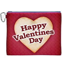 Heart Shaped Happy Valentine Day Text Design Canvas Cosmetic Bag (XXXL)