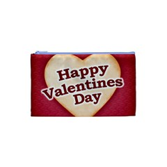 Heart Shaped Happy Valentine Day Text Design Cosmetic Bag (XS)