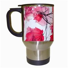 Floral Print Swirls Decorative Design Travel Mug (White)