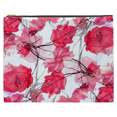 Floral Print Swirls Decorative Design Cosmetic Bag (xxxl)