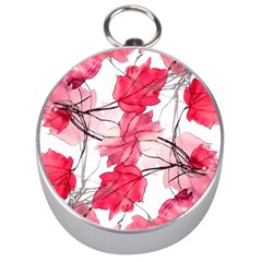 Floral Print Swirls Decorative Design Silver Compass