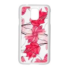 Floral Print Swirls Decorative Design Samsung Galaxy S5 Case (White)
